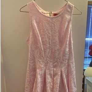 Betsey Johnson Pink and White Lace Dress Size 6
